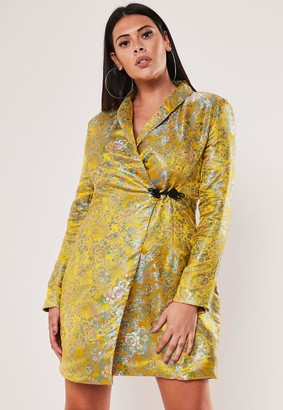 Missguided Plus Size Yellow Jacquard Satin Blazer Dress