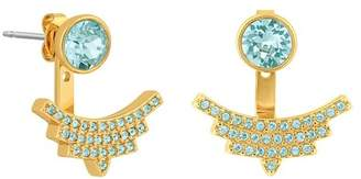 Adore Gold Plated Round Swarovski Crystal Accent & Pave Arc Jacket Earrings