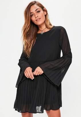 Missguided Black Long Sleeve Pleated Swing Dress