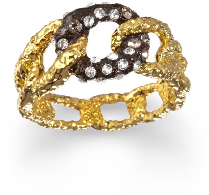 Alexis Bittar Jardin de Papillon Gold with Ruthenium Chain Link Ring