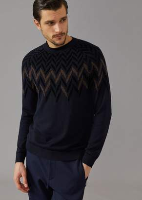 Giorgio Armani Crew-Neck Sweater With Chevron Pattern Jacquard Inlay