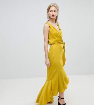 Flounce London wrap front satin maxi dress