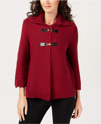 JM Collection Petite Wing-Collar Buckle-Front Sweater