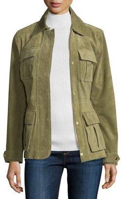 Neiman Marcus Snap-Front Safari Suede Jacket, Olive $395 thestylecure.com