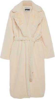 Apparis Mona Belted Faux Fur Coat Size: XS