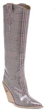 Fendi Plaid Leather Tall Boots