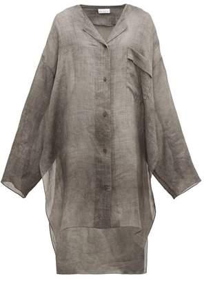 Raey Sheer Linen Shirtdress - Womens - Grey
