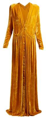 Button Front Velvet Gown - Womens - Yellow