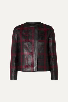 Akris Caleesi Embroidered Perforated Leather Jacket - Black