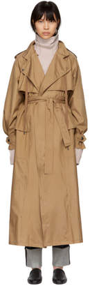 Bottega Veneta Tan Silk Satin Trench Coat