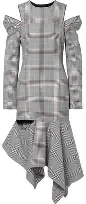 Monse Cutout Striped Prince Of Wales Checked Woven Midi Dress - Black