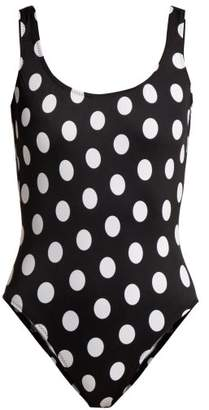 Norma Kamali Mio Polka Dot Swimsuit - Womens - Black Print