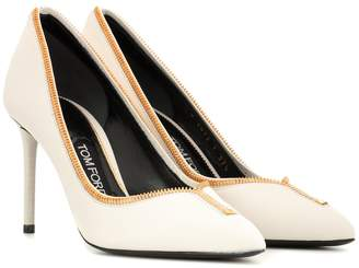 Tom Ford Leather zip-up pumps