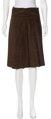 Joseph Suede Pleated Skirt