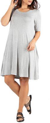 24/7 Comfort Apparel Knee Length Pocket T-Shirt Dress