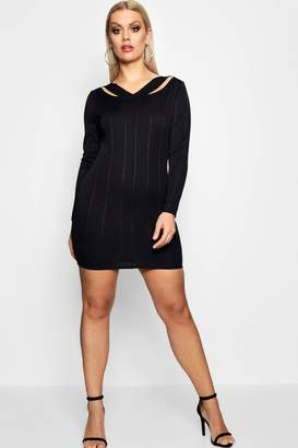 boohoo Plus Cut Out Bandage Bodycon Dress