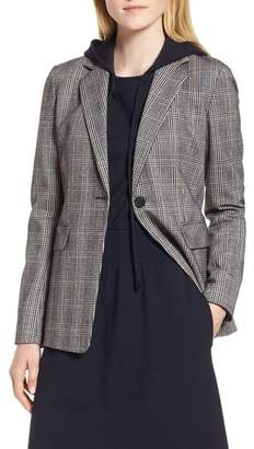 Nordstrom Signature Elbow Patch Plaid Stretch Wool Jacket
