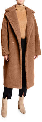 Max Mara Double-Breasted Camel Hair Blend Teddy Coat