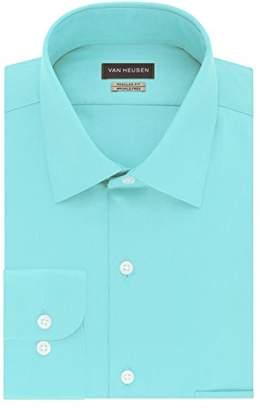 Van Heusen Men's Dress Shirts Regular Fit Lux Sateen Solid Spread Collar