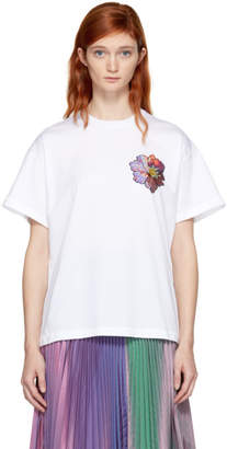 Christopher Kane White Sequin Flower Boyfriend Shirt