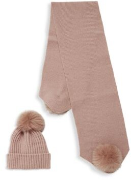 La Fiorentina Two-Piece Dyed Fox Fur-Trim Beanie & Scarf Set