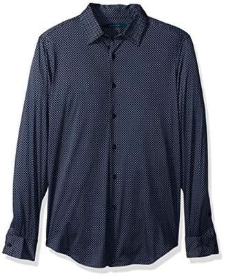 Perry Ellis Men's Diamond Print On Knit Fabric Shirt