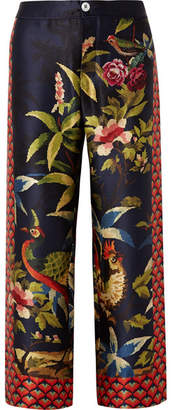 F.R.S For Restless Sleepers - Tartaro Cropped Printed Silk Straight-leg Pants - Navy