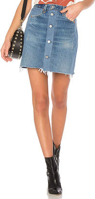 RE/DONE LEVI'S High Waisted Button Front Mini Skirt.