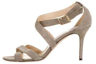 Jimmy Choo Suede Crossover Sandals Grey Suede Crossover Sandals