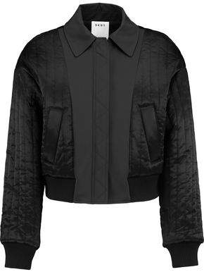 DKNY Cropped Shell-Paneled Quilted Satin Bomber Jacket