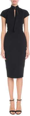 Victoria Beckham Slash-Front Cap-Sleeve Fitted Midi Crepe Dress