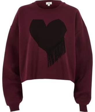 River Island Womens Red heart print fringe sweatshirt