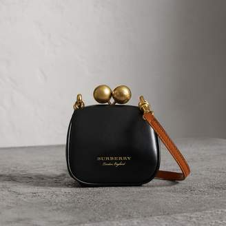 Burberry Mini Two-tone Leather Metal Frame Clutch Bag