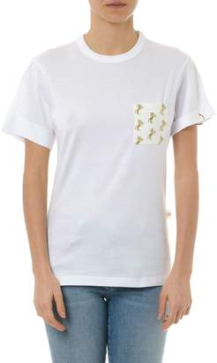 Chloé White Cotton T-shirt With Pocket & Ring Details