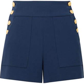 Alice + Olivia (アリス オリビア) - Alice + Olivia - Donald Button-embellished Jersey Shorts - Midnight blue