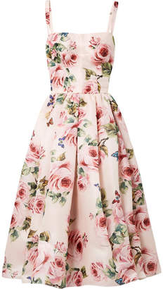 Dolce & Gabbana - Pleated Floral-print Silk-organza Midi Dress - Pastel pink