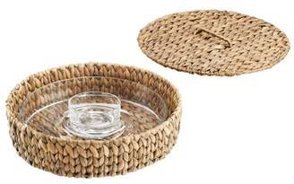 Artland Garden Terrace Chip N Dip Glass Platter And Dip Bowl, In Seagrass Tray With Lid