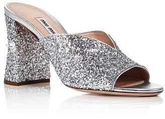 Miu Miu Women's Rocchetto Crystal-Embellished Block Heel Sandals