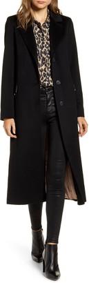 Fleurette Notch Collar Wool Maxi Coat