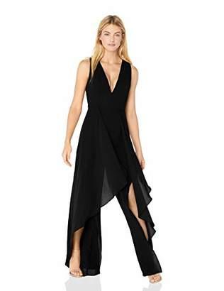 Halston Women's Sleeveless Halter V Neck Drape Front Jumpsuit