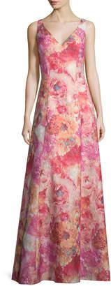 Aidan Mattox V-Neck Floral-Print A-Line Gown, Peach/Multi