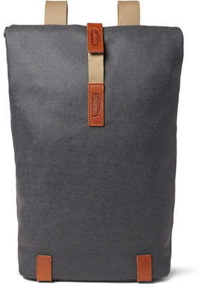 Brooks England Pickwick Medium Leather-Trimmed Cotton-Canvas Backpack