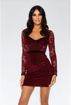 Quiz Berry Velvet Lace Bodycon Dress