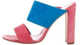 Manolo Blahnik Suede Round-Toe Sandals