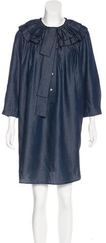 Marc Jacobs Marc Jacobs Ruffle-Trimmed Denim Dress w/ Tags