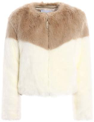 Dondup Colour Block Faux Fur Crop Jacket