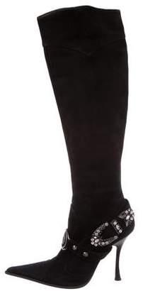 Gianmarco Lorenzi Embellished Suede Boots