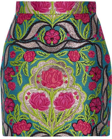 Gucci - Metallic Floral-jacquard Mini Skirt - Green
