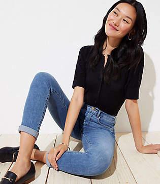 LOFT Petite Modern Soft Skinny Crop Jeans in Pure Mid Indigo Wash