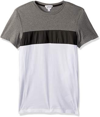 Calvin Klein Men's Slim Fit Short Sleeve Tri Color Blocked Crew Neck T-Shirt